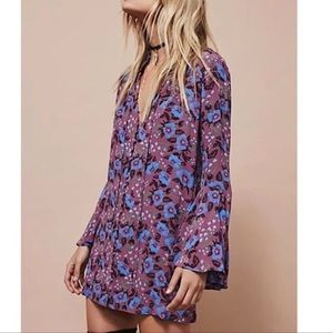 Free People Drop neck button bell sleeve tunic